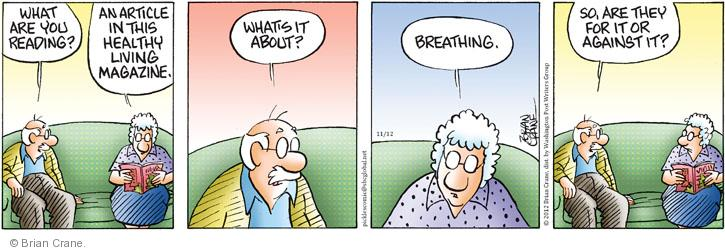 Comic Strip Brian Crane  Pickles 2012-11-12 healthy