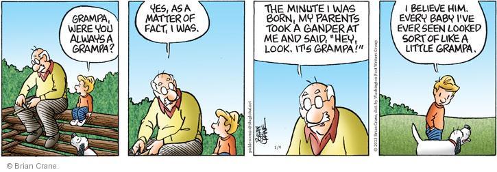 Cartoonist Brian Crane  Pickles 2013-01-09 hey baby