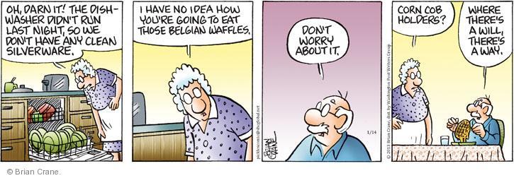 Comic Strip Brian Crane  Pickles 2013-01-14 dishwasher