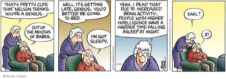 Comic Strip Brian Crane  Pickles 2013-02-19 due to