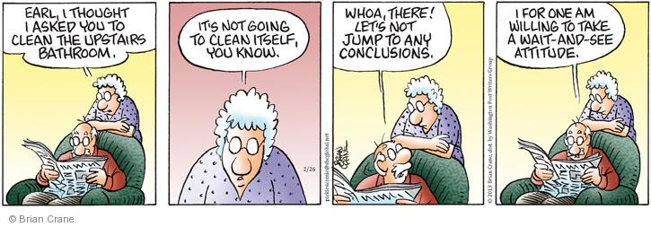 Comic Strip Brian Crane  Pickles 2013-02-26 housekeeping