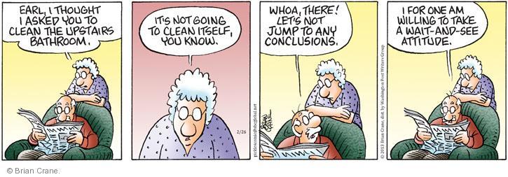 Comic Strip Brian Crane  Pickles 2013-02-26 upstairs