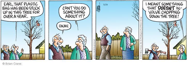Comic Strip Brian Crane  Pickles 2013-03-26 plastic bag