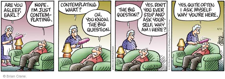 Comic Strip Brian Crane  Pickles 2013-04-11 purpose