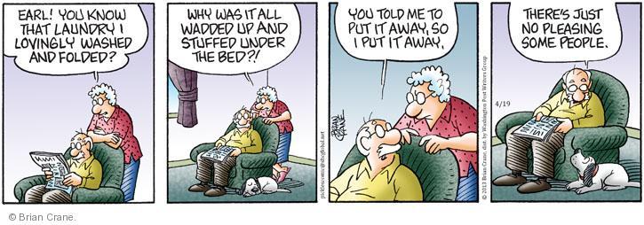 Comic Strip Brian Crane  Pickles 2013-04-19 under the bed