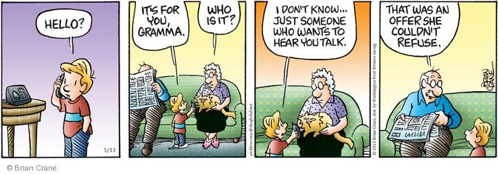 Comic Strip Brian Crane  Pickles 2013-05-13 caller