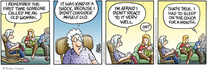 Comic Strip Brian Crane  Pickles 2013-05-15 elderly woman