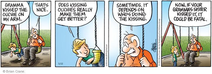 Comic Strip Brian Crane  Pickles 2013-05-22 kiss