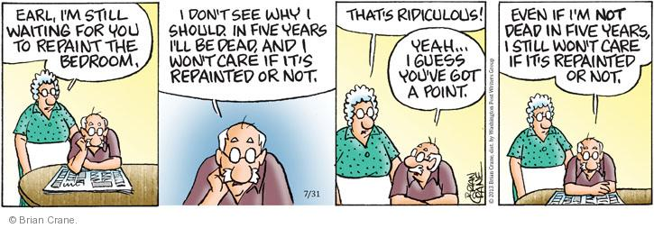 Comic Strip Brian Crane  Pickles 2013-07-31 bedroom