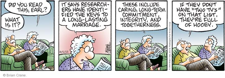Comic Strip Brian Crane  Pickles 2013-08-05 married couple