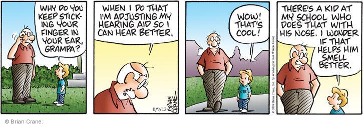 Comic Strip Brian Crane  Pickles 2013-08-09 hearing aid