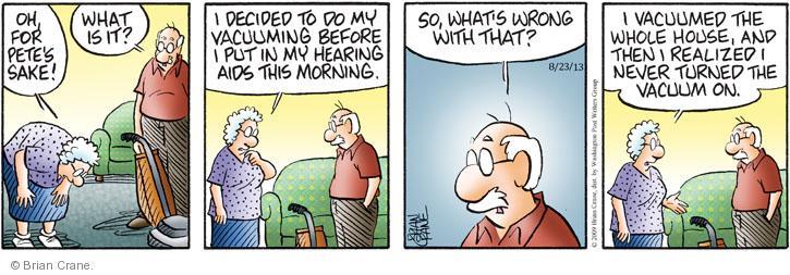 Comic Strip Brian Crane  Pickles 2013-08-23 hearing aid