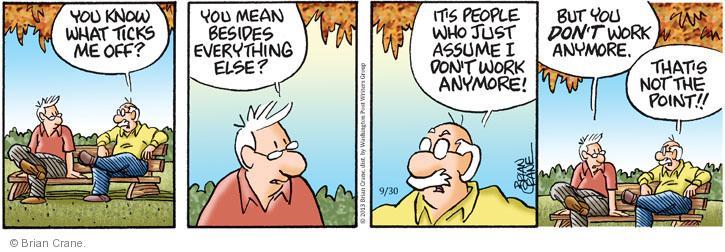Comic Strip Brian Crane  Pickles 2013-09-30 judgment