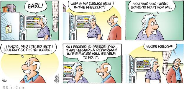 Comic Strip Brian Crane  Pickles 2013-10-20 freeze