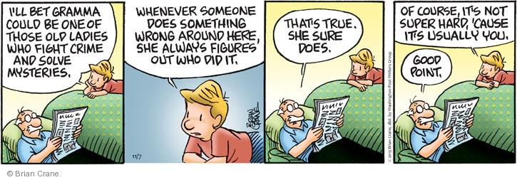 Comic Strip Brian Crane  Pickles 2013-11-07 cause