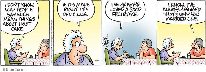 Comic Strip Brian Crane  Pickles 2013-11-11 dessert