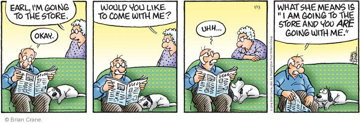 Comic Strip Brian Crane  Pickles 2014-01-13 husband and wife