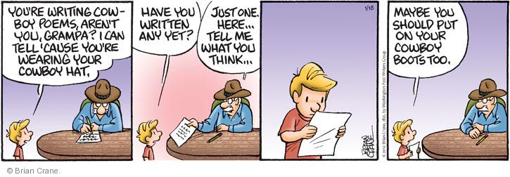 Comic Strip Brian Crane  Pickles 2014-01-18 cowboy