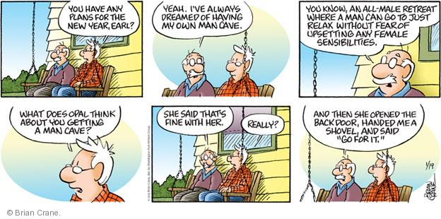 Comic Strip Brian Crane  Pickles 2014-01-19 husband and wife