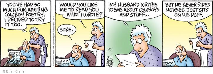 Comic Strip Brian Crane  Pickles 2014-01-25 husband and wife