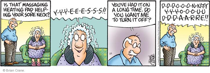 Cartoonist Brian Crane  Pickles 2014-02-01 turn it off