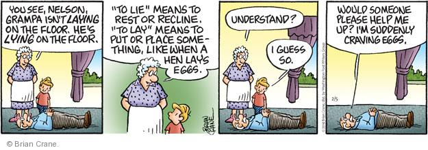 Comic Strip Brian Crane  Pickles 2014-02-05 grammatical
