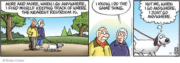 Comic Strip Brian Crane  Pickles 2014-02-06 pee