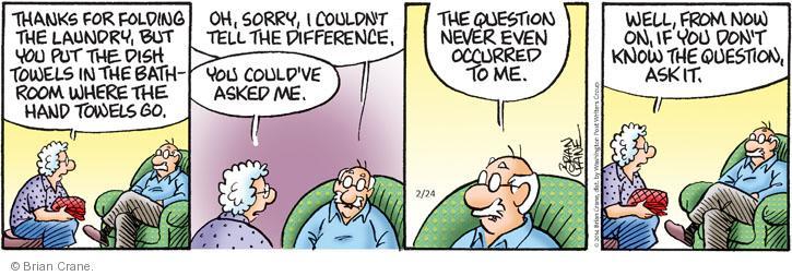 Comic Strip Brian Crane  Pickles 2014-02-24 unaware