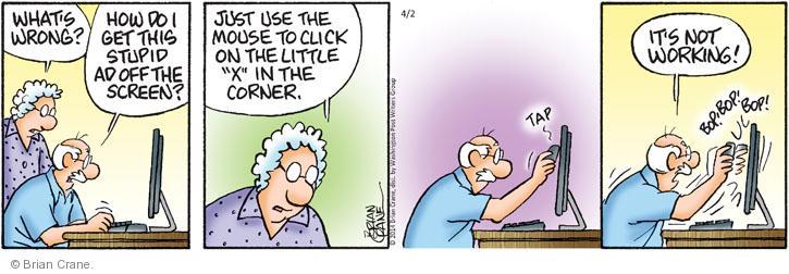 Cartoonist Brian Crane  Pickles 2014-04-02 computer monitor