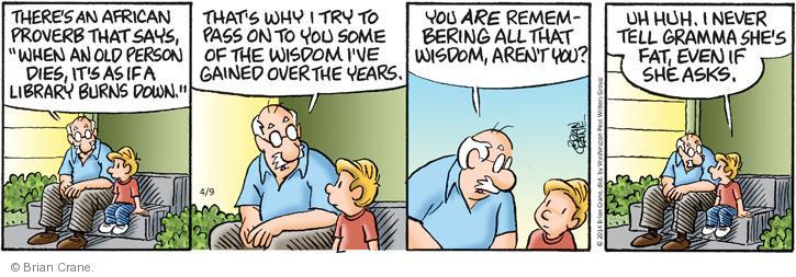 Comic Strip Brian Crane  Pickles 2014-04-09 fat