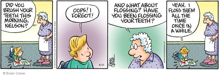Comic Strip Brian Crane  Pickles 2014-04-15 dental floss