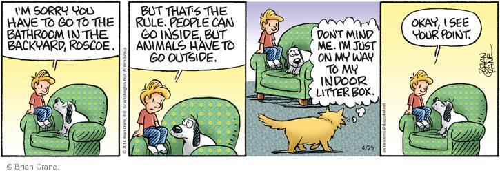 Comic Strip Brian Crane  Pickles 2014-04-25 outdoor cat