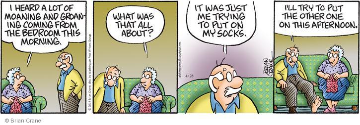 Cartoonist Brian Crane  Pickles 2014-04-28 painful