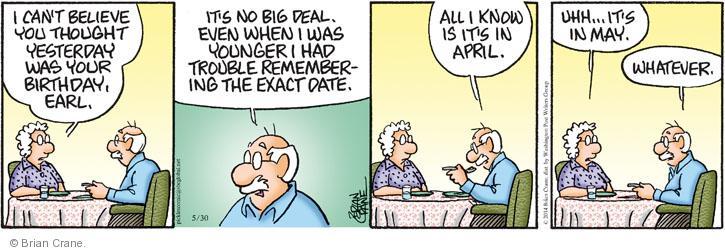 Comic Strip Brian Crane  Pickles 2014-05-30 no memory