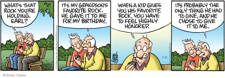 Comic Strip Brian Crane  Pickles 2014-05-31 birthday gift