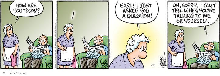 Comic Strip Brian Crane  Pickles 2014-06-28 conversation