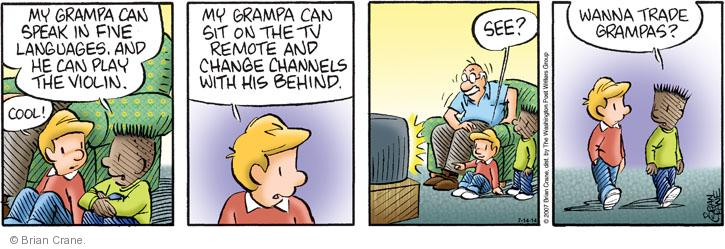 Comic Strip Brian Crane  Pickles 2014-07-14 language