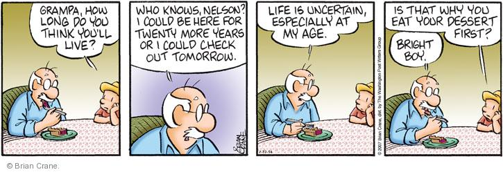 Comic Strip Brian Crane  Pickles 2014-07-17 lifespan