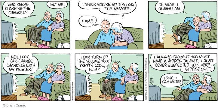Cartoonist Brian Crane  Pickles 2014-08-10 mute