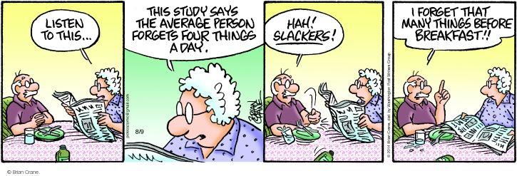 Comic Strip Brian Crane  Pickles 2014-08-09 memory