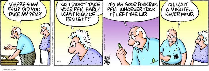 Comic Strip Brian Crane  Pickles 2014-08-11 forgetfulness