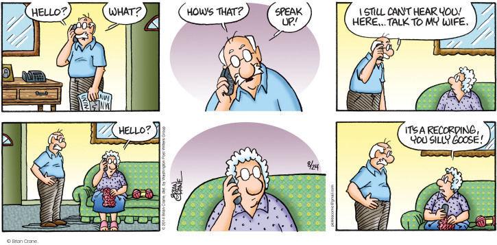 Comic Strip Brian Crane  Pickles 2014-08-24 hear