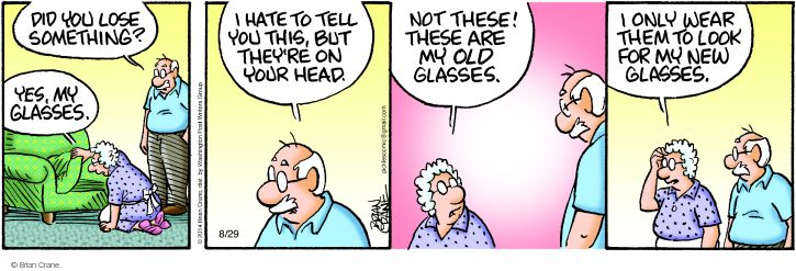 Comic Strip Brian Crane  Pickles 2014-08-29 eyeglasses