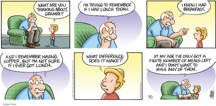 Comic Strip Brian Crane  Pickles 2014-09-07 breakfast