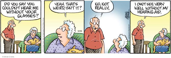 Comic Strip Brian Crane  Pickles 2014-09-26 hear