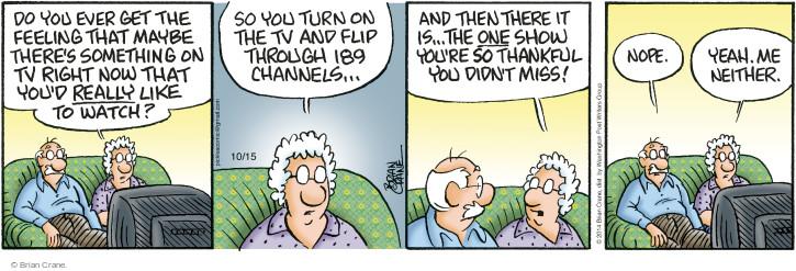 Comic Strip Brian Crane  Pickles 2014-10-15 uninteresting