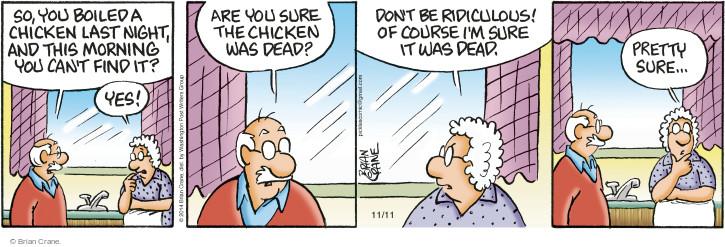 Comic Strip Brian Crane  Pickles 2014-11-11 lose
