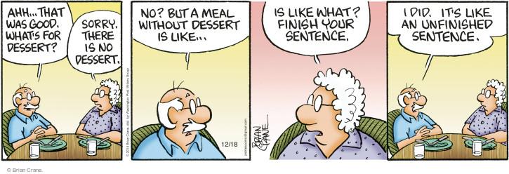 Cartoonist Brian Crane  Pickles 2014-12-18 meal