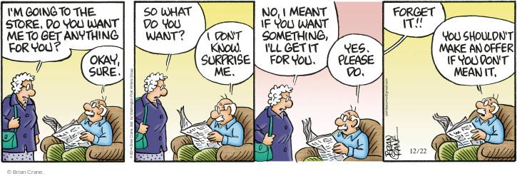 Comic Strip Brian Crane  Pickles 2014-12-22 renege
