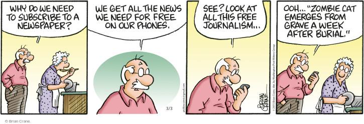 Comic Strip Brian Crane  Pickles 2015-03-03 tabloid media